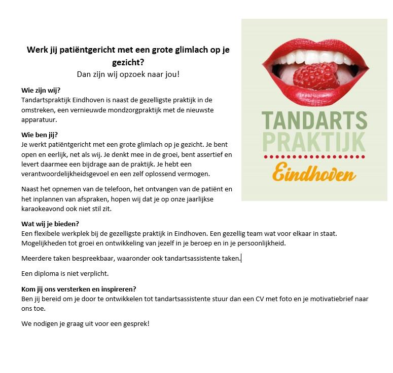 Vacature Balieassistente Tandartspraktijk Eindhoven